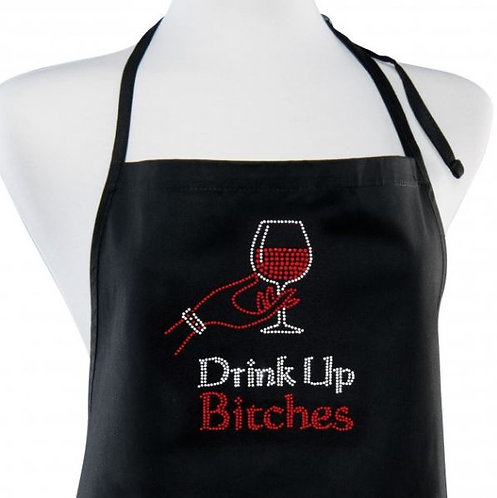 """rhinestone design of hand holding glass of red wine with rhinestone wording below """"Drink Up Bitches"""""""