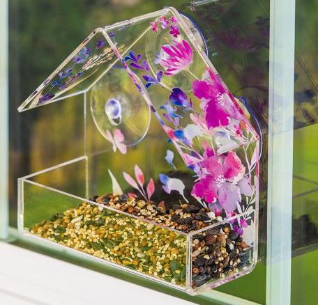 Pink Watercolor Floral Window Bird Feeder