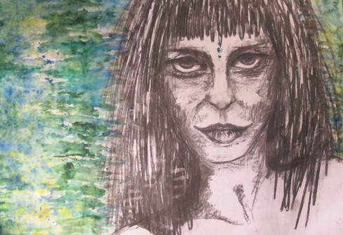 woman in green_