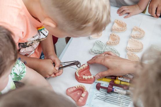 Dalyvaujame įdomioje edukacijoje apie dantukus.