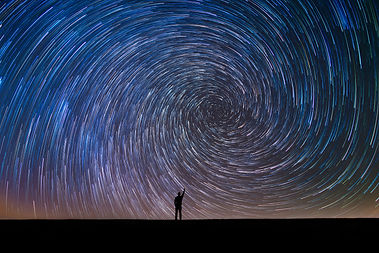 Man Pointing North in a spiral star trai