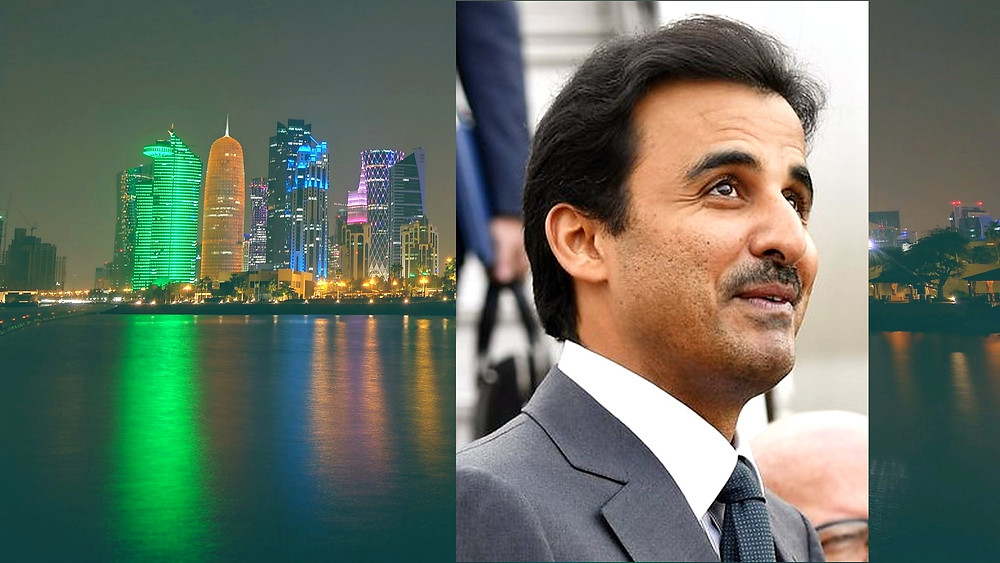 Illustration: Qatari Emir Tamim bin Hamad Al Thani by LLs - Own work [CC BY-SA 4.0] via Wikipedia; Background Image: Nightline, Doha Qatar by Nikolovskii [CC BY-SA 2.0] via Flickr