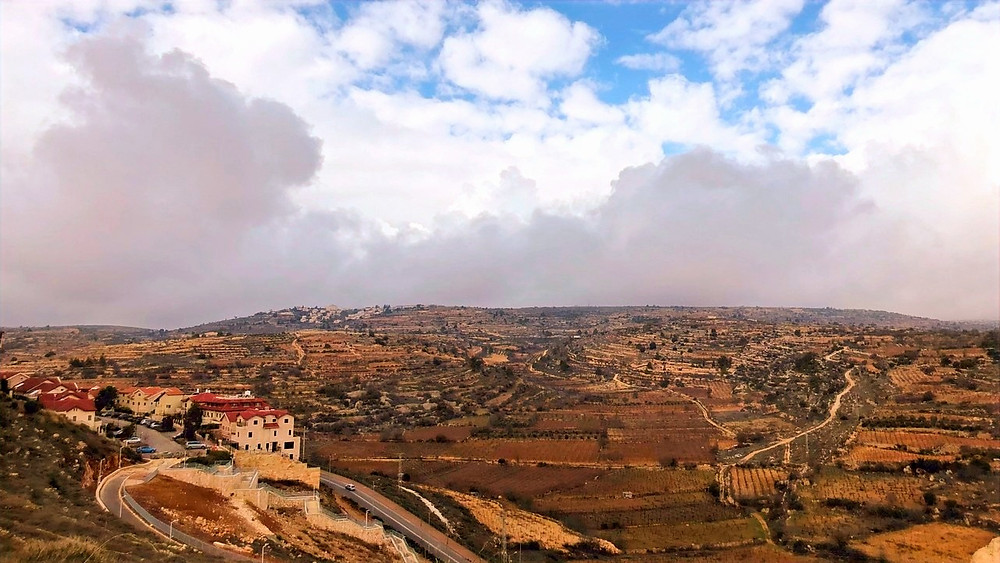 Illustration: Storm Clouds Build Over Gush Etzion (Image Credit: Dr. Barry Lynn © 2020)