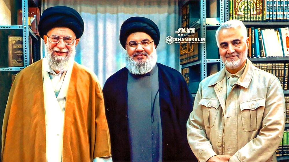 Illustration: (l. to r.) Iran Supreme Leader Ayatollah Ali Khamenei, Hezbollah Secretary General Hassan Nasrallah, and Qods Force commander Qassem Soleimani by Unknown - Ali Khamenei website [CC BY 4.0] via Wikimedia