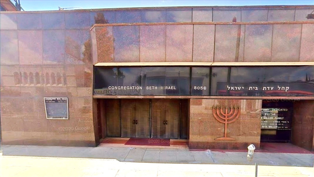 """Illustration: Congregation Beth Israel Los Angeles before being vandalized on May 30 with graffiti stating """"free Palestine"""" and """"f— Israel"""" (Image capture: May 2019 © Google)"""