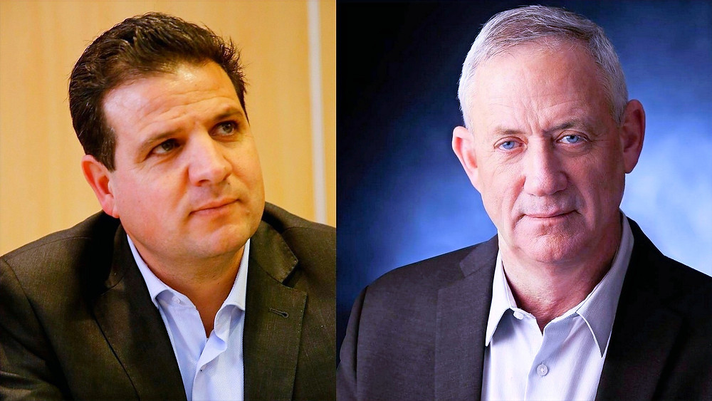 Composite Illustration: (r. to l.) Ayman Odeh of the Joint List by Anan Maalouf; Benny Gantz of Blue and White by Reuben Kupuchinsky; [CC BY-SA 3.0] by Wikimedia