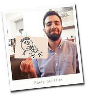 Picture of man playing Gutterhead - the adult party game
