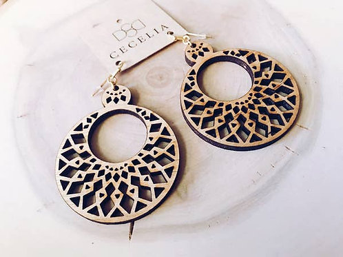 Mandala Wood Earrings