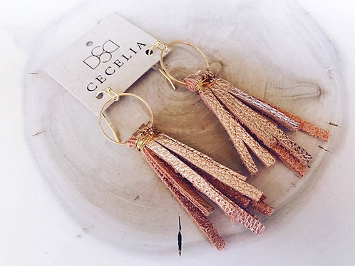 Rose Gold Leather Tassel
