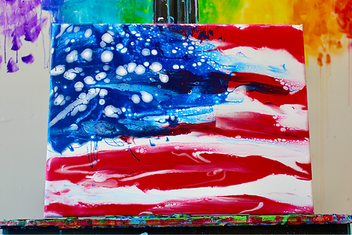 American Flag — Pour painting