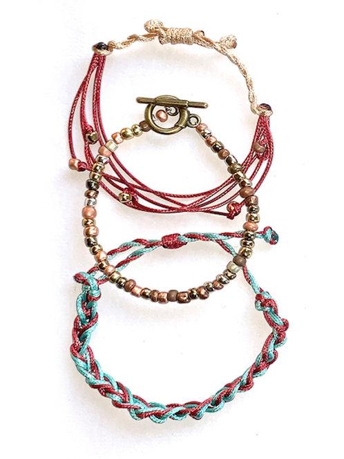 Hand-tied braid & bead bracelet set - Rust, Teal, Gold
