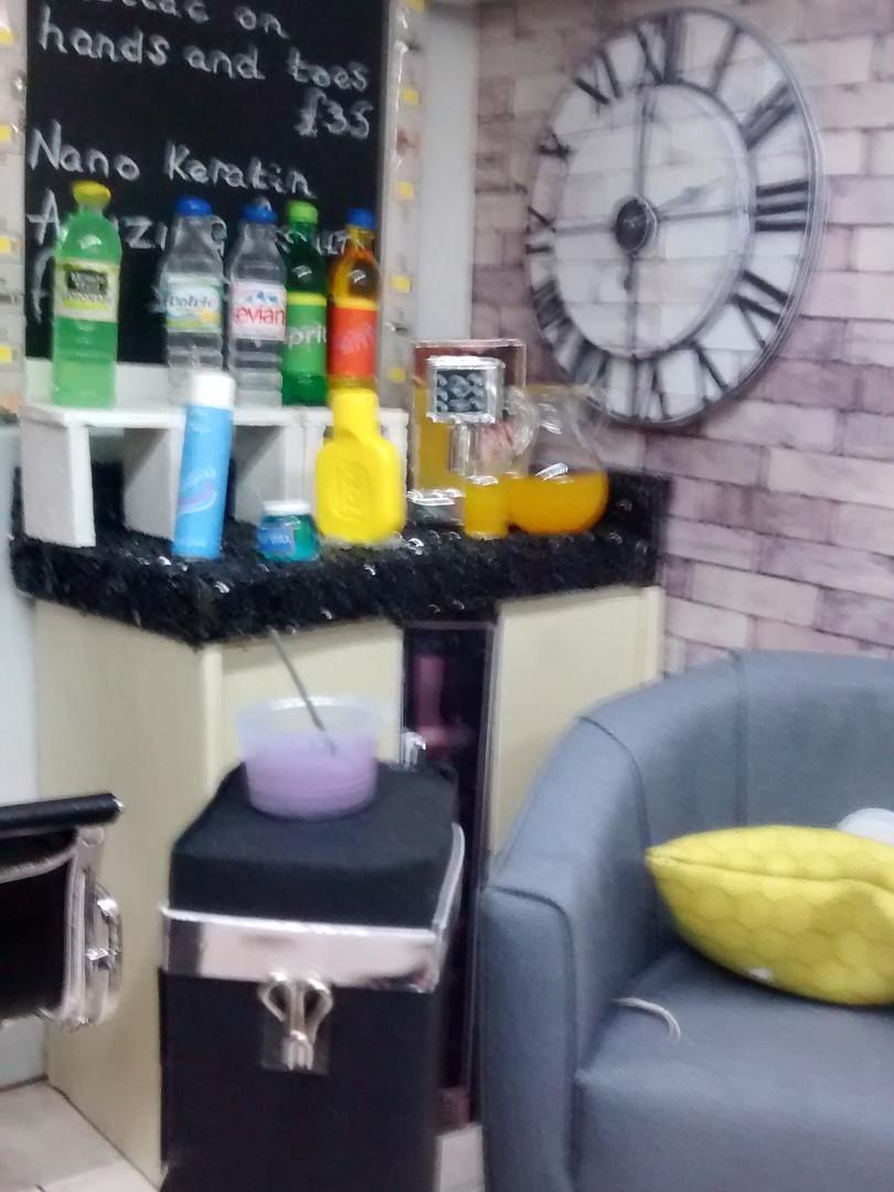 Corner unit in salon.