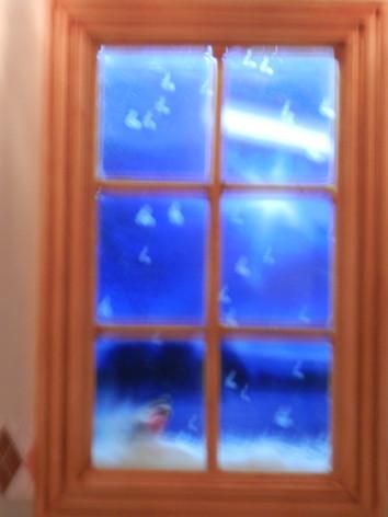 The snowy windowsill.