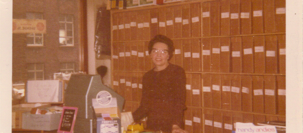 My mother in her 'real' wool shop.
