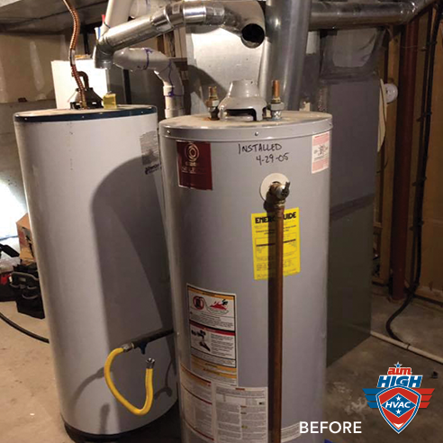 Before: Old water heater.