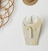 Tête de taureau céramique blanche
