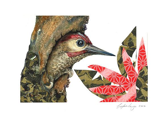 Woodpecker in the trunk, 2017