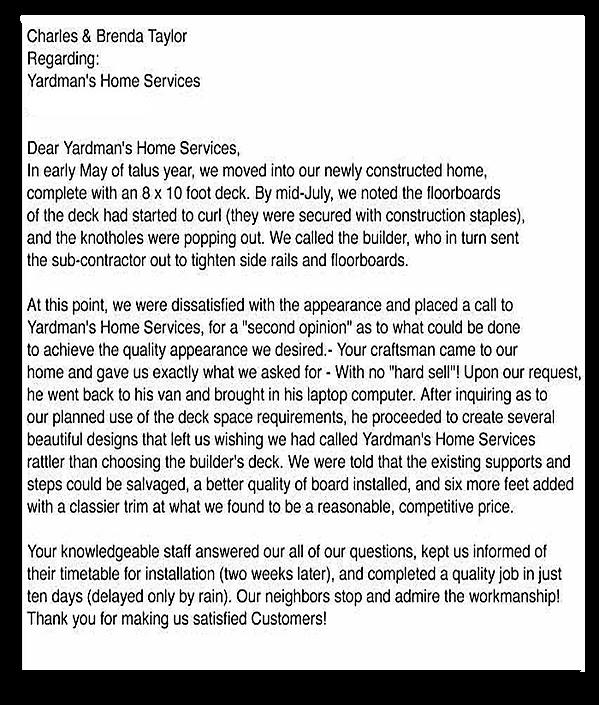 Yardmans Custom Decks Customer Review