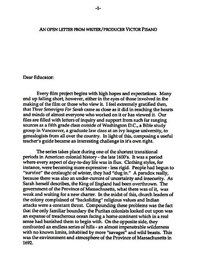 Open letter Salem Witch Trial Teacher's Guide