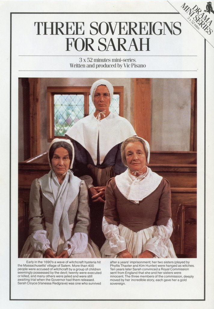 The Television adversiment flyer to the PBS mini-series, THREE SOVEREIGNS FOR SARAH.  Three Academy Award-winning actresses.  Vanessa Redgrave, Kim Hunter and Phillis Thaxter.