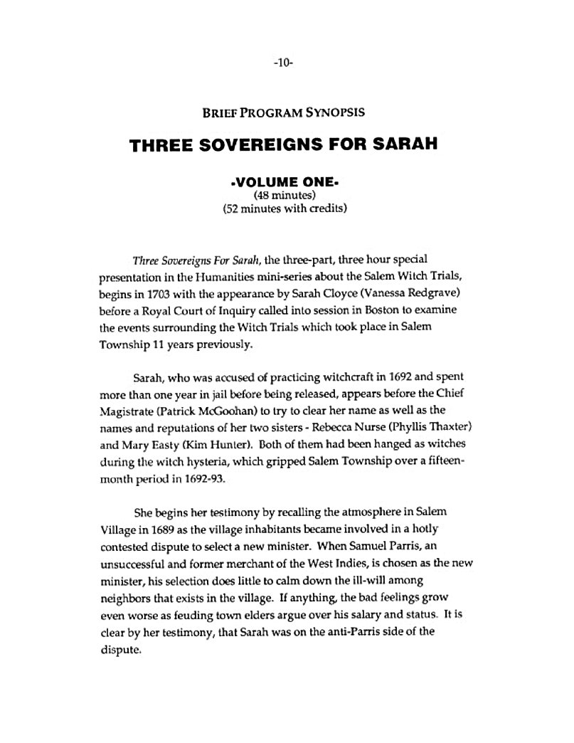 Brief Program Synopsis of PBS mini-series THREE SOVEREIGNS FOR SARAH.  Volume One.