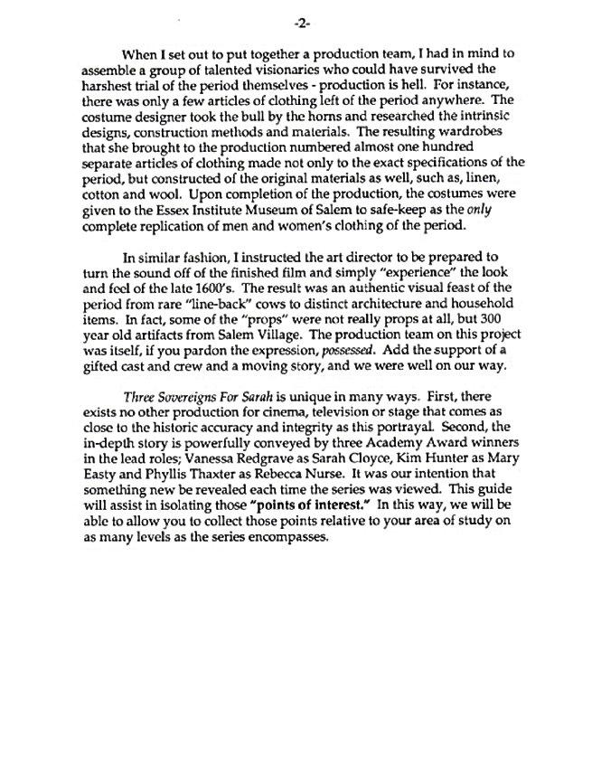 Salem Witch Trial letter to educators