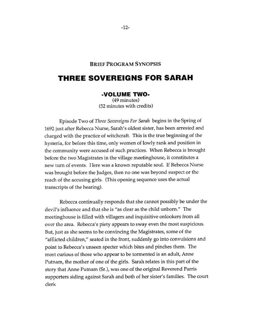 Brief Program Synopsis of PBS mini-series THREE SOVEREIGNS FOR SARAH.  Volume Two.