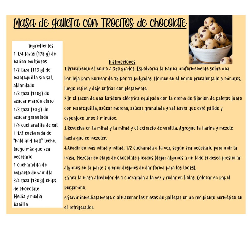 Masa de galleta con trocitos de chocolate