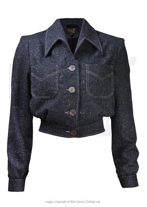 40s Americana Button Jacket - Slate Blue
