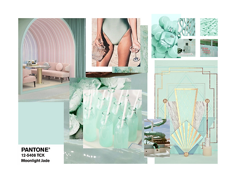 Pantone Moonlight Jade Event Decor Mood Board