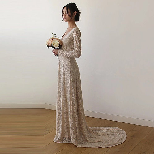 Floral Champagne Lace Wrap Gown