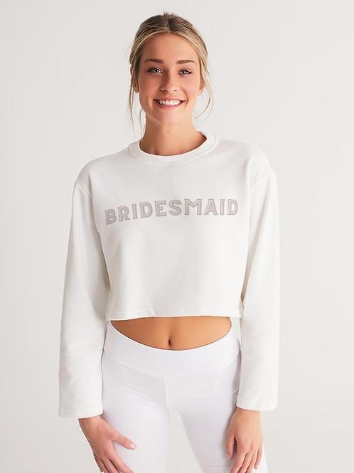 BRIDESMAID - retro blush Cropped Sweatshirt