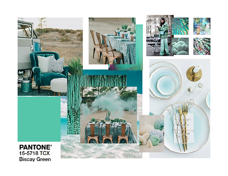 Pantone 2020 Biscay Green Event Design Decor Mood Board