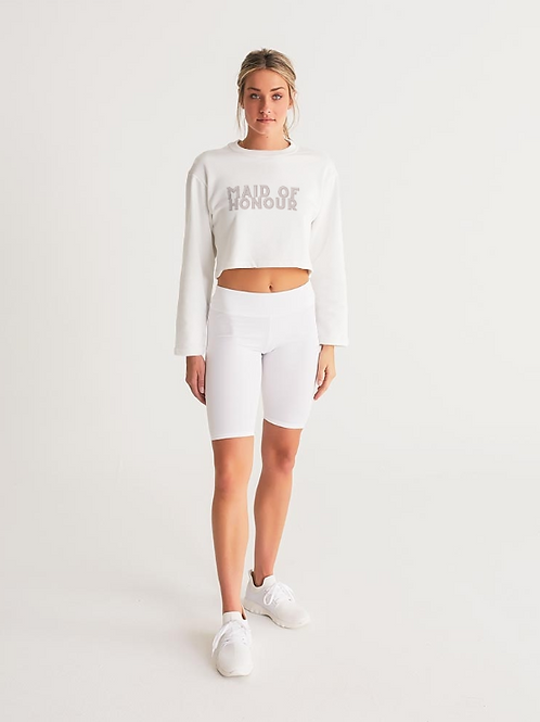 MAID OF HONOUR - retro blush Cropped Sweatshirt