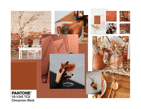 Pantone 2020 Cinnamon Stick Event Design Decor Mood Board