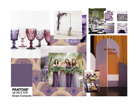Pantone 2020 Grape Compote Event Design Decor Mood Board