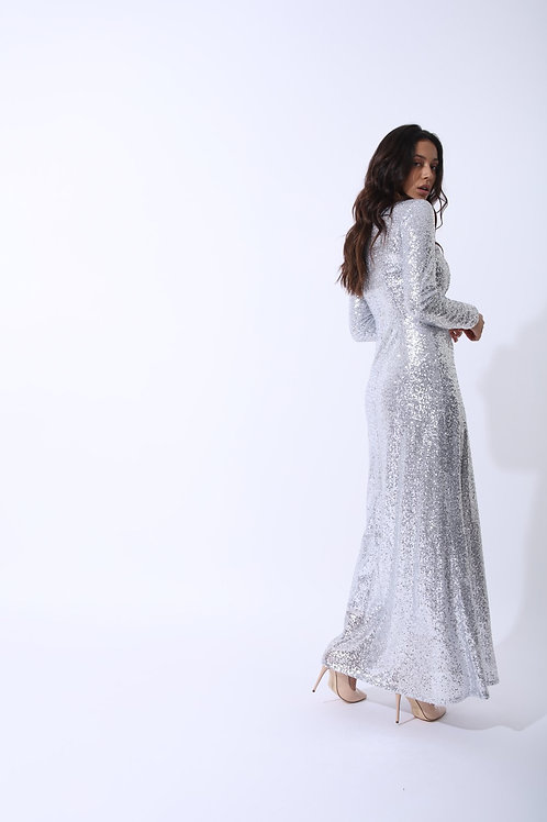 The Amal Silver Sequin Gown