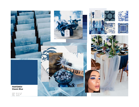 Pantone 2020 Classic Blue Event Design Decor Mood Board