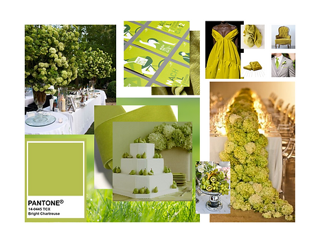 Pantone Bright Chartreuse Mood Board Event Decor