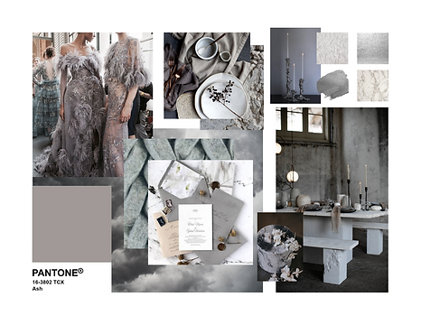Pantone 2020 Ash Event Decor Mood Board