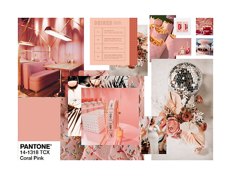 Pantone 2020 Coral Pink Event Design Decor Mood Board