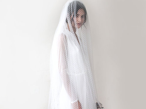 Chapel Length Dotted Tulle Veil