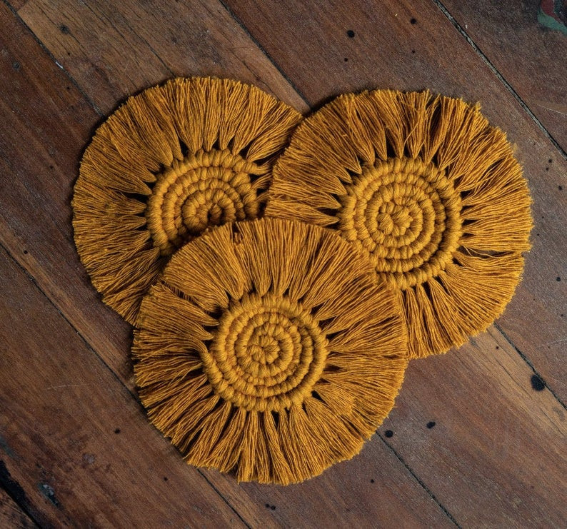 $39.20 for set of 4 handmade recycled cotton coasters from Etsy