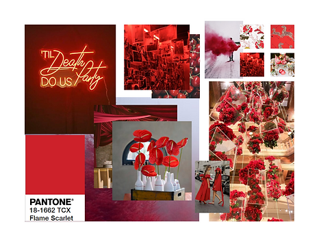 Pantone 2020 Flame Scarlet Event Design Decor Mood Board