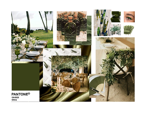 Pantone 2020 Chive Event Design Decor Mood Board