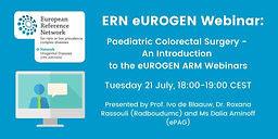 Paediatric Colorectal Surgery: An introduction to eUROGEN ARM Webinars