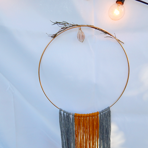Witchy Woman: Circular Macrame feat. Crystal, Rosemary, Choice of 2 Colors
