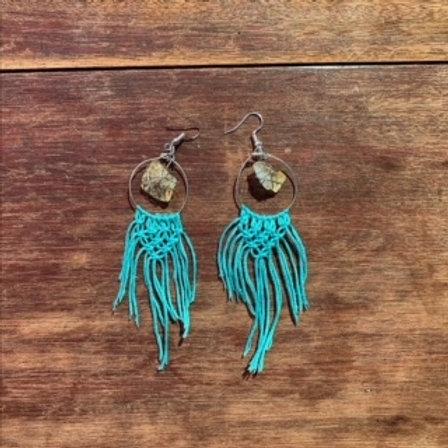 Macrame + Crystal Hoop Earrings