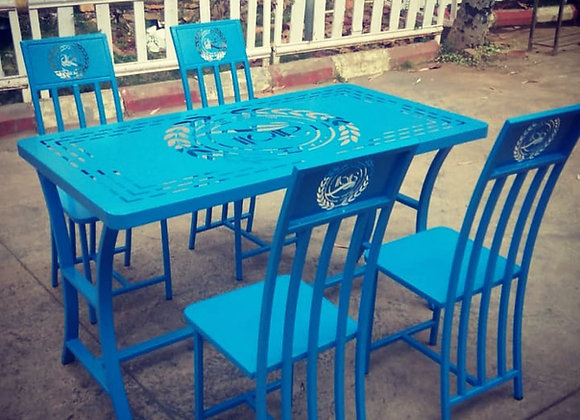 Blue Dining Table and chairs with logo