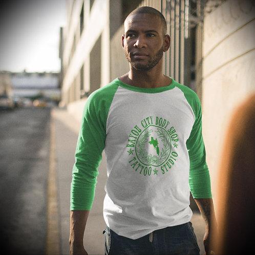 Logo 3/4 sleeve Baseball Tee (Unisex)- Green+White/Green